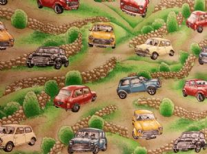 MINI MAGIC - CLASSIC CAR - Fabric 100% Cotton - Price Per Metre